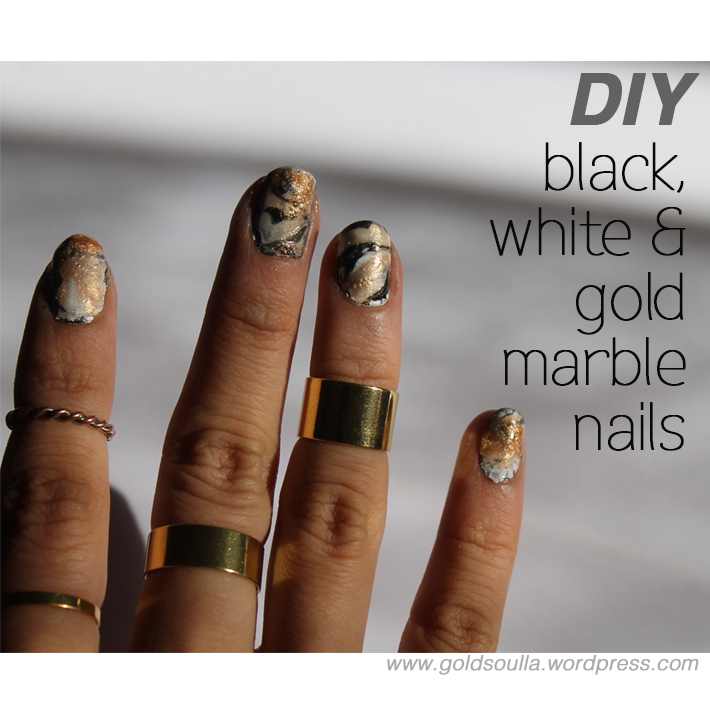 CLAWS OUT: DIY Black, White and Gold Marble Nails